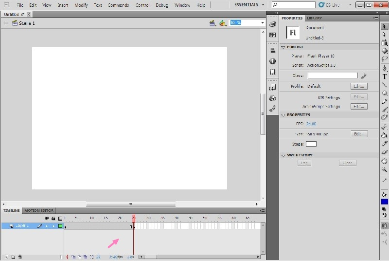 Simple Flash animation, Save, Export