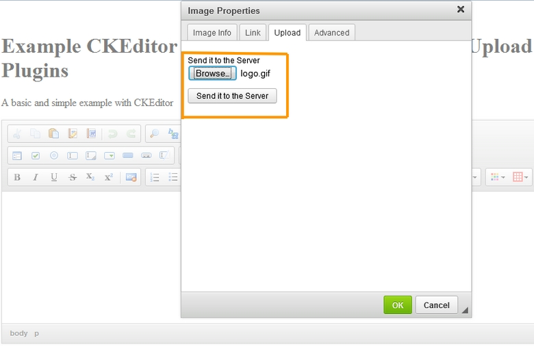 CKEditor Free Image Browse Plugin