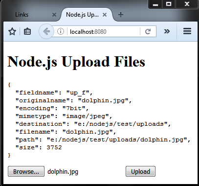 Node.js response upload file