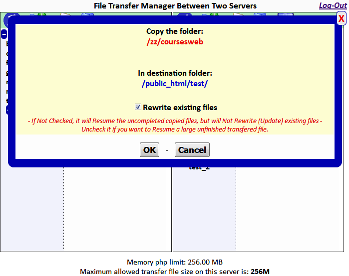 FTM2S - File Transfer Manager between two Servers
